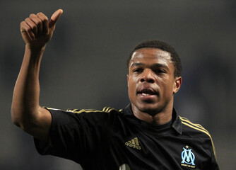 Olympique Marseille's Remy reacts at the end of his French League Cup semi-final soccer match against Nice at the Velodrome stadium in Marseille