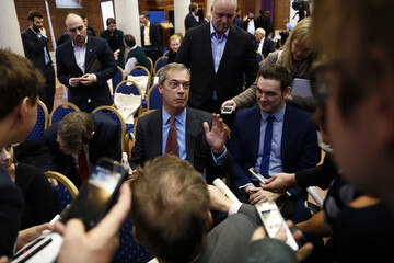The leader of the United Kingdom Independence Party (UKIP) Nigel Farage speaks to members of the media after an Leave.EU campaign news conference in central London