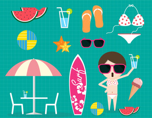 Summer time item collection sunglass bikini ice cream sandal water melon volleyball