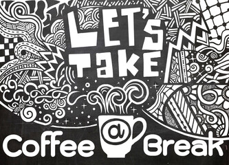 Lets take a coffee break lettering. Coffee quotes.  Hand drawn v