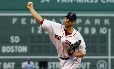 Boston Red Sox's Lackey pitches against the San Diego Padres during their MLB interleague baseball game at Fenway Park in Boston