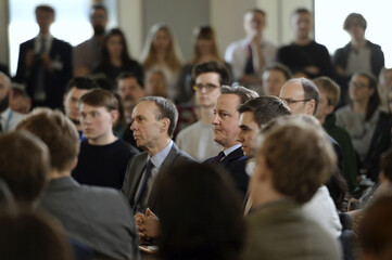 Britain's Prime Minister David Cameron holds a question and answer session with students at University Campus Suffolk in Ipswich