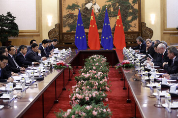 China's Premier Li meets with European Commission President Barroso and European Council President Rompuy at the Great Hall of the People in Beijing,