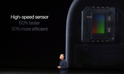 Phil Schiller discusses the sensor on the iPhone 7 during a media event in San Francisco