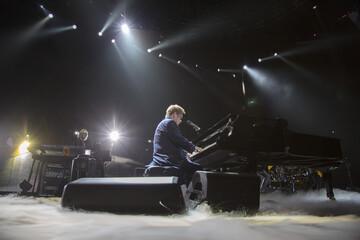 Recording artist Elton John performs at Staples Center in Los Angeles