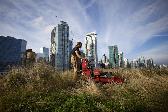 Landscaper mows the lawn on the Vancouver Convention Centre's six-acre living roof in Vancouver