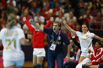 Spain's coach Jorge Duenas de Galarza reacts on the sidelines in their women's handball Preliminaries Group B match against Norway at the Copper Box venue during the London 2012 Olympic Games