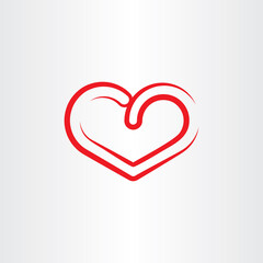 stylized red heart symbol icon vector element