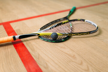 Squash game equipment closeup view