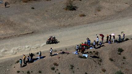 Viladombs of Spain rides his KTM during the fifth stage Jujuy-Uyuni in the Dakar Rally 2016 near Uyuni