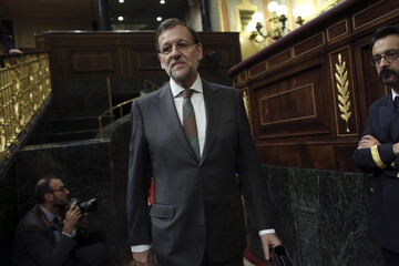 Spanish PM Rajoy arrives for the start of the weekly government control session at Parliament in Madrid