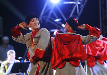 Members of the Russian Red Army Choir perform at Sidi Fredj theatre in Algiers
