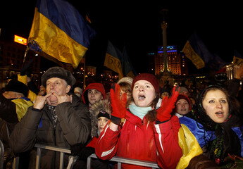 Pro-European integration protestors attend a meeting at Independence square in Kiev