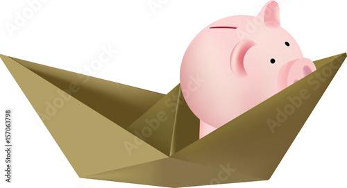 Barchetta Di Carta Con Salvadanaio Stock Image And Royalty Free