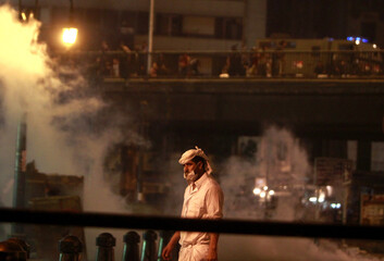 A supporter of deposed Egyptian President Mohamed Mursi is seen during clashes on the Sixth of October Bridge over the Ramsis square area in central Cairo
