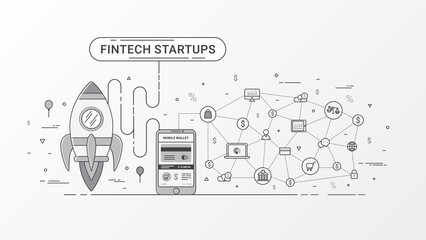 Fintech startup infographic. Financial technology and new business investment with blockchain technology contain Rocket, Digital mobile wallet and Mobile payment, Online shopping icons and e-commerce.