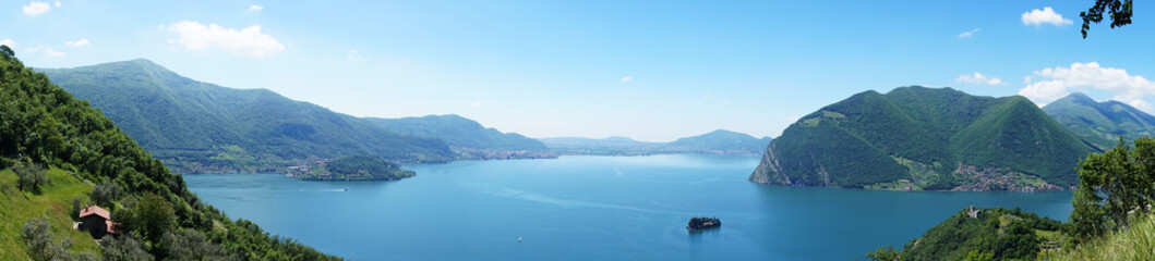 "Lake panorama from ""Monte Isola"". Italian landscape. Island on lake. View from the island Monte Isola on Lake Iseo, Italy"