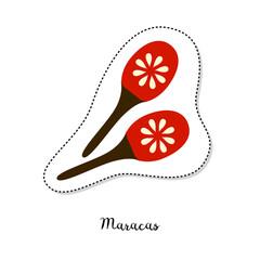 Cartoon sticker with maracas on white background.