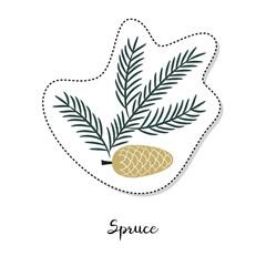 Cartoon sticker with fir branch on white background.
