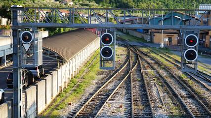 Train traffic lights. Railway traffic lights show a stop signal.