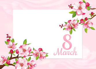 VECTOR eps 10.  Japanese flowering on the branch with blue background. For Mother's day with beauty number 8.