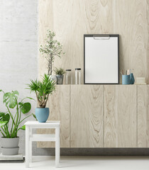 Creative work space, green plants and mock up poster, 3d illustration