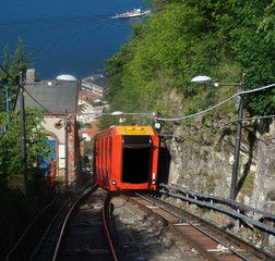 BRUNATE, ITALY - MAY 14, 2017: Funicular climbing between two railway on Lake Como to Brunate, Como, Italy