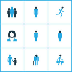 Person Colorful Icons Set. Collection Of Child, Human, Client And Other Elements. Also Includes Symbols Such As Fitness, Team, Oldster.