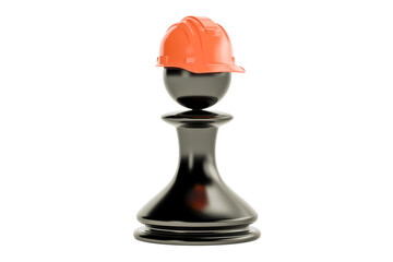 Chess pawn with construction hard hat, 3D rendering