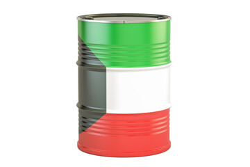 Oil barrel with flag of Kuwait. Oil production and trade concept, 3D rendering