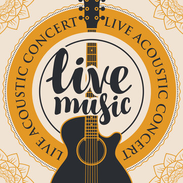 banner with acoustic guitar, inscription live music and the words live acoustic concert, written around with floral patterns in the corners
