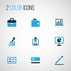 Trade Colorful Icons Set. Collection Of Authentication, Portfolio, Badge And Other Elements. Also Includes Symbols Such As Contract, Access, Bank.