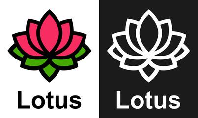 cartoon lotus vector set with text