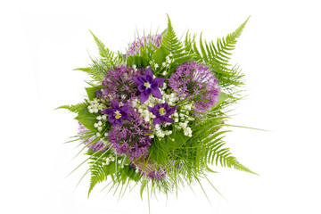 Spring bouqet with Convallaria ,Allium and Aquilegia isolated on white.Top view with copy space.