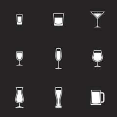 Icons for theme Drink alcohol beverage. Black background