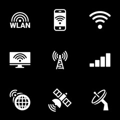 Icons for theme wireless network, vector, icon, set. Black background