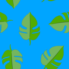 Seamless pattern with tropical leaves, vector