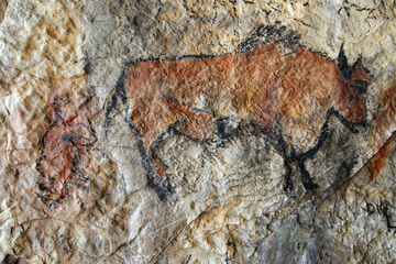 Cave painting in prehistoric style