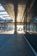 Airport Corridor Bus Arrival Area Modern Architecture Glass Sun Bright