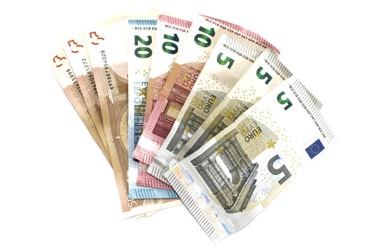 Abanico de billetes de euros, ordenados  de mayor a menor