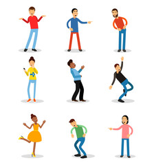 Young men and women having fun and smiling set. Happy people vector illustrations