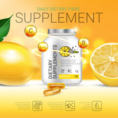 Lemon balm dietary supplement ads. Vector Illustration with Lemon supplement contained in bottle and lemon elements