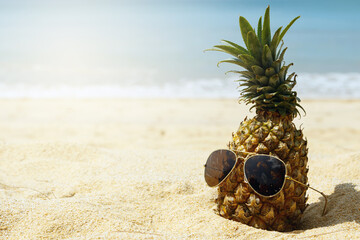 Pineapple fruit and sunglasses