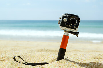 Action camera on the beach