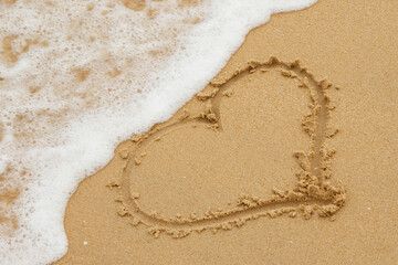 Drawing of heart on the sand
