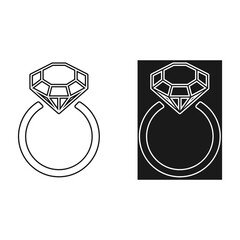 Diamond engagement ring icons with crystals. Vector Illustration. Black circle with shiny brilliant stone. isolated on white background. Flat fashion design element.Symbol engagement, gift, expensive.