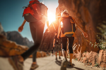Hikers with backpacks walk on the trail in canyon of Zion National Park, USA. Blurred edges with tilt shift effect Wall mural