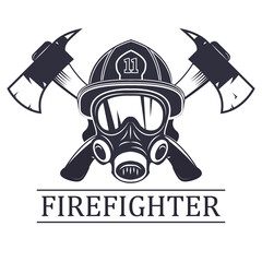 firefighter . emblem, icon, logo. Fire. mask firefighter and two axes.  monochrome vector illustration.