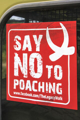 No poaching sticker on a safari car in Serengeti National / conservation area. Serengeti is one of the largest National park in Tanzania