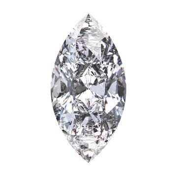 3D illustration marquise diamond stone